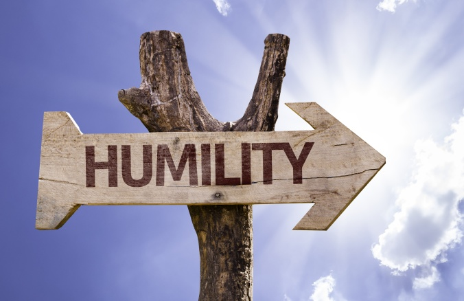 Humility wooden sign on a beautiful day